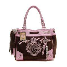 Juicy Couture Metal Medallion Crown Handbag Coffee Pink