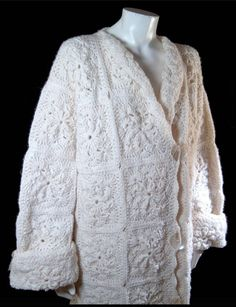 Vintage snow white wool coat - crochet granny square sweater - Plus Extra Large