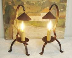 Pair of vintage lamps in wrought iron with 'chapeaux' style hats French country style Wrought Iron Chandeliers, Copper Pots, Iron Table, French Country Style, Vintage Lamps, Farmhouse Style, Sconces, Wall Lights, Table Lamp