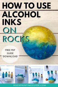 Alcohol Inks Beginner's Guide for Rocks! Get our alcohol inks on rocks checklist, tips and techniques cheatsheet! Alcohol Ink Glass, Alcohol Ink Crafts, Alcohol Ink Painting, Buy Alcohol, Stone Crafts, Rock Crafts, Arts And Crafts, Diy Crafts, Preschool Crafts