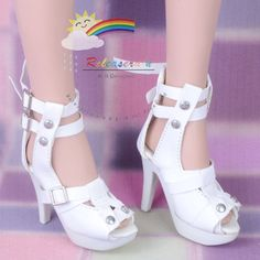 "Straps Studs High-Heel Platform Sandals Shoes White for For 22"" Tonner American Model Dolls"