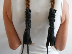 Leather braid wraps with fringe, set of two (2), handmade from soft black elk hide.    Wraps measure 6 (six inches) long including the fringe.