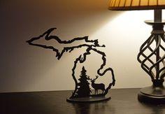 Michigan Outline w/ Deer Candle Holder