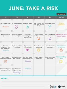 June Challenge Take a Risk Calendar #greatistrisk #challenge #inspiration