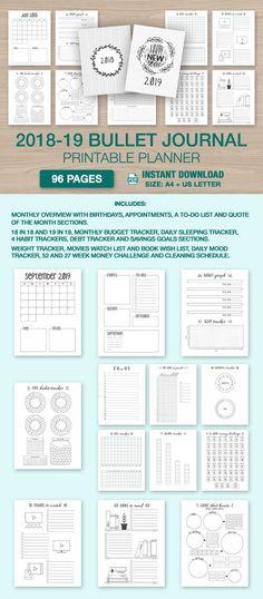 2018-2019 Bullet Journal Printable 18 month starter kit 96 Pages #bulletjournal #planner2019 #bujo #bulletjournalprintable #etsy