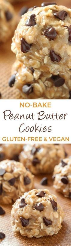 No-bake Peanut Butter Chocolate Chip Cookies {naturally gluten-free, vegan, dairy-free, maple sweetened, and whole grain} (Lactose Free Desserts Kids) Vegan Treats, Healthy Treats, Healthy Desserts, Delicious Desserts, Yummy Food, Cookies Vegan, Dairy Free No Bake Cookies, Healthy No Bake Cookies, Baking Cookies