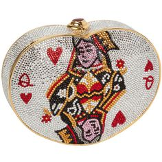 Pre-owned Iconic Judith Leiber Queen of Hearts Crystal Minaudière featuring polyvore, fashion, bags, handbags, clutches, evening bags and minaudières, handbags and purses, white evening bag, beaded clutches, white handbags, crystal clutches and pre owned handbags