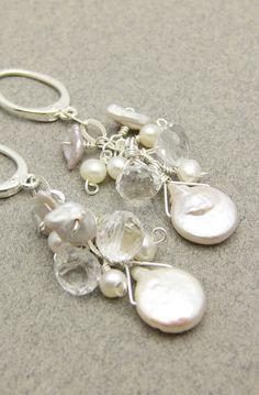 Fresh Water Pearl Bridal Earrings with Rock Crystal