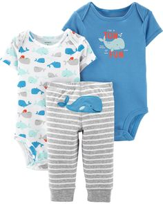 Whale King of The sea Long Sleeve Organic Baby Onesie Outfits Set for Newborn Boys Girls