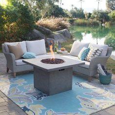 Outdoor Belham Living Bellevue All-Weather Wicker Fire Pit Conversation Set - BINH022-1