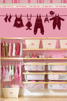Baby Clothes wall decal by WALLTAT.com