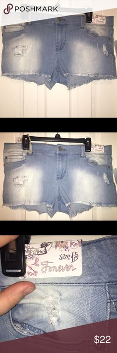 Blue Short Shorts Never worn. Distressed. Will go as low as $12. Tags are taken off before being shipped. Indigo Rein Shorts Jean Shorts