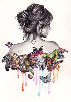 beautiful drawing of a girl with updo, love the butterflies!
