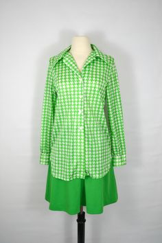 1970s Green and White Blouse and by KrisVintageClothing on Etsy, $40.00