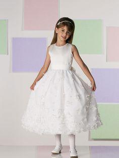 Chiffon over satin A-line fashion flower girl dress