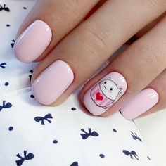 Uñas Diy, Short Nails Art, Pink Nail Designs, Disney Nails, Nail Tips, Cute Nails, Make Up, Beauty, Short Nail Manicure