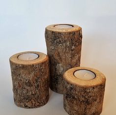 Rustic Wood Tea Light Candle Holder Set  3 piece Pillar set