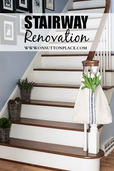 Love the dark wood and white on the stairs!!!