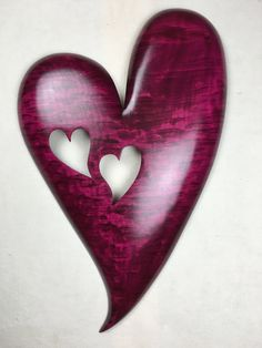Personalized Red wood heart wall hanging by TreeWizWoodCarvings