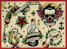 flash 3 by brian kelly cowgirl skull nautical tattoo designs canvas art print sailors-grave revolver americana alternative-artwork assorted Flash Art Tattoos, Retro Tattoos, Hot Tattoos, Finger Tattoos, Skull Tattoo Design, Tattoo Designs, Traditional Tattoo Flash Art, Traditional Tattoos, Traditional Tattoo Sleeves