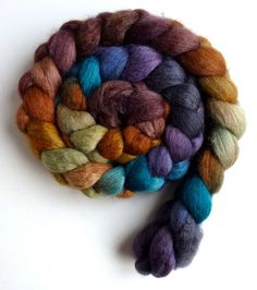 African Sunset, Lynne Vogel, Mixed BFL/ Silk Roving  Hand Painted Spinning by threewatersfarm, $22.50
