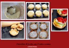 Ricetta per preparare in casa dei fiori di frolla con frutta fresca a piacere e crema chantilly . Dolce Pasticceria mignon pasta frolla