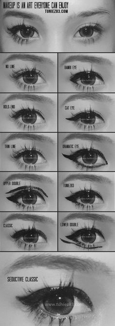 Different eyeliner styles ranging from Bambi Eye, Cat Eye, Upper Double, to Seductive Classic. By a famous Thai blogger. Try these eye makeup looks!