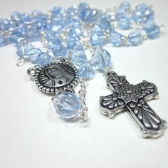 Light crystal blue long rosary silver cross Virgin Mary Catholic ornate
