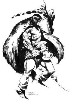 CONAN IN THE SNOW  _ Benito Gallego John Buscema, Conan The Barbarian, Sword And Sorcery, Red Sonja, View Image, Hero, Ink, Awesome, Random