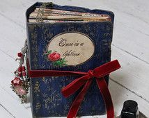 Fairytale wedding guest book ,navy blue and red photo album , fuji instax guest book , custom made 9x6 inches.