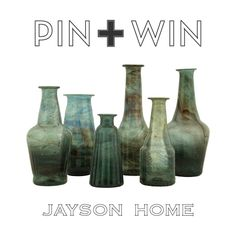 """Jayson Home Pin + Win Contest. Enter for your chance to win these Bottle Vases.    How to enter:  1. Go to www.pinterest.com/jaysonhome and follow all Jayson Home boards by clicking """"Follow All.""""  2. Repin this product from the """"w i n n i n g !"""" board from the Jayson Home Pinterest page.    Contest ends at 4:00 pm CT on June 14, 2012. For more information visit: http://www.jaysonhome.com/customer-center/pin-and-win-contest?utm_source=Jayson+Home_campaign=Pinterest_2012_06_Contest_medium=Pi"""