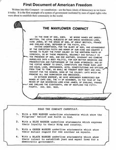 The Mayflower Compact #Worksheet #USHistory CC Cycle 3 Week 2