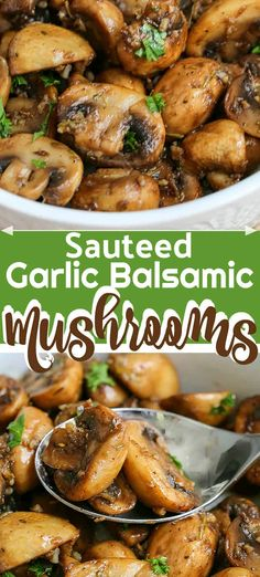 Sautéed Garlic Balsamic Mushrooms Sautéed Garlic Balsamic Mushrooms are pan fried in garlic and balsamic vinegar, the flavour soaking into each mushroom. This makes an excellent topping for steak, chicken or as a side dish! Steak Sides, Steak Side Dishes, Side Dishes For Chicken, Healthy Side Dishes, Vegetable Side Dishes, Side Dishes Easy, Side For Steak, Side Dishes For Meatloaf, Sides For Meatloaf