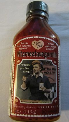 I Love Lucy VITAMEATAVEGAMIN Bottle Candy Pills Brand New Sealed Unopened!!