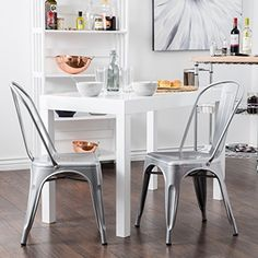 Vintage Style Dining Chairs Steel High Back Side (Silver)