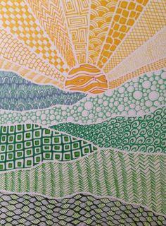 Zentangle The Art Of Jordan: The Art of the Land Doodle Art Art doodle art Jordan Land Zentangle Middle School Art, Art School, Zentangle Patterns, Zentangles, Patterns To Draw, Zentangle Drawings, Doodle Patterns, Art Patterns, Ecole Art
