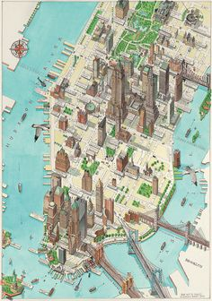 Lower Manhattan New York city (NYC, NY city) large detailed panoramic drawing map. Large detailed panoramic drawing map of lower Manhattan NY city (New York city). Manhattan New York, Lower Manhattan, New York Poster, London Poster, Watercolor World Map, Voyage New York, Tourist Map, Ellis Island, Upstate New York