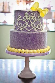 Purple PIped Crown Cake w/Sugar Crystals