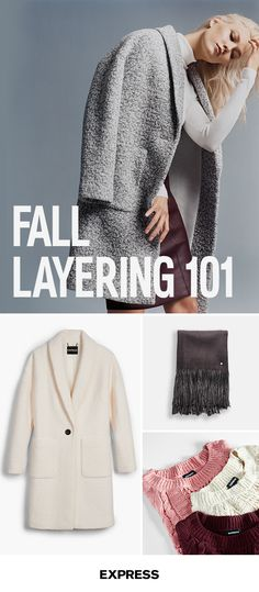 Take your favorite looks well into fall with a few quick layering tricks. Start with your favorite pencil skirt and add a cozy oversized sweater for a versatile look thatÕs perfect for the office or the weekend. For those cool fall nights out with the squad, add a jacket and a versatile fringe scarf. Shop today at Express.com.