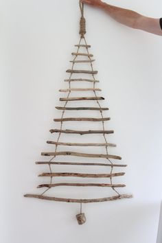 Hanging Driftwood Christmas Tree Driftwood by TheBeachcomberDevon Driftwood Christmas Tree, Stick Christmas Tree, Red And Gold Christmas Tree, Hanging Christmas Tree, Cheap Christmas, Natural Christmas, Easy Christmas Crafts, Simple Christmas, Christmas Wreaths