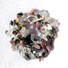 Bracelet SS Garnet Onyx Rose Quartz Garnet Agate Chip Multi Stone