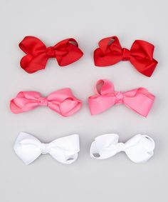 Red, White & Pink Bow Clip Set