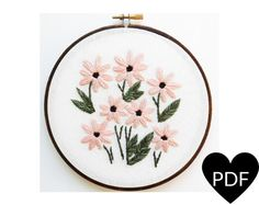 Daisy Embroidery Pattern.Floral Inspired Stitchery.