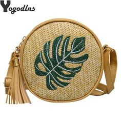 2019 Pineapple Embroidered Round Straw Bags Women Summer Rattan Bag Handmade Woven Beach Crossbody Bag Circle Bohemia Handbag Round Straw Bag, Crosses Decor, Types Of Bag, Bago, Fashion Handbags, Criss Cross, Rattan, Saddle Bags, Crossbody Bag