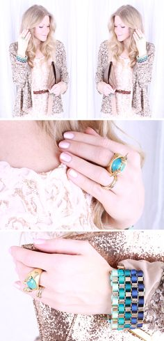 Powder pink and gold with a hint of turquoise