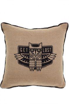 Sourpuss Get Lost Burlap Pillow