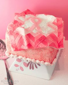 {breast cancer awareness quilt strawberry cake}