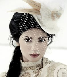 The Dorcas  Victorian Bridal Top Hat with Bird by topsyturvydesign, $269.00