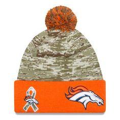 Men s Denver Broncos New Era Camo Orange 2015 Salute to Service On Field  Cuffed Knit 05b368758b5c