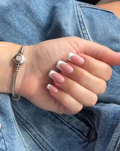 Semi-permanent varnish, false nails, patches: which manicure to choose? - My Nails French Tip Acrylic Nails, Square Acrylic Nails, Best Acrylic Nails, Acrylic Nail Designs, Aycrlic Nails, Hair And Nails, Manicures, Coffin Nails, Classy Nails